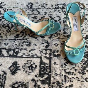 Jimmy Choo leather teal snakeskin slingbacks heel